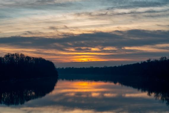 Sonnenuntergang am Inn